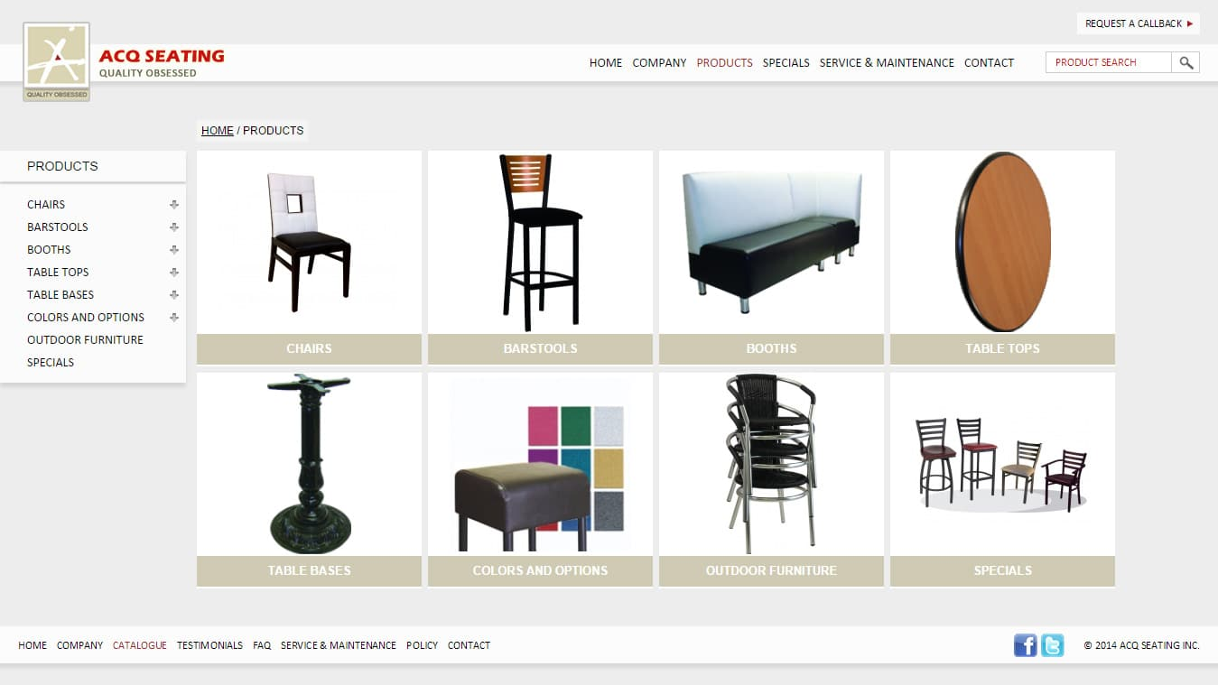 ACQ Seating Products page