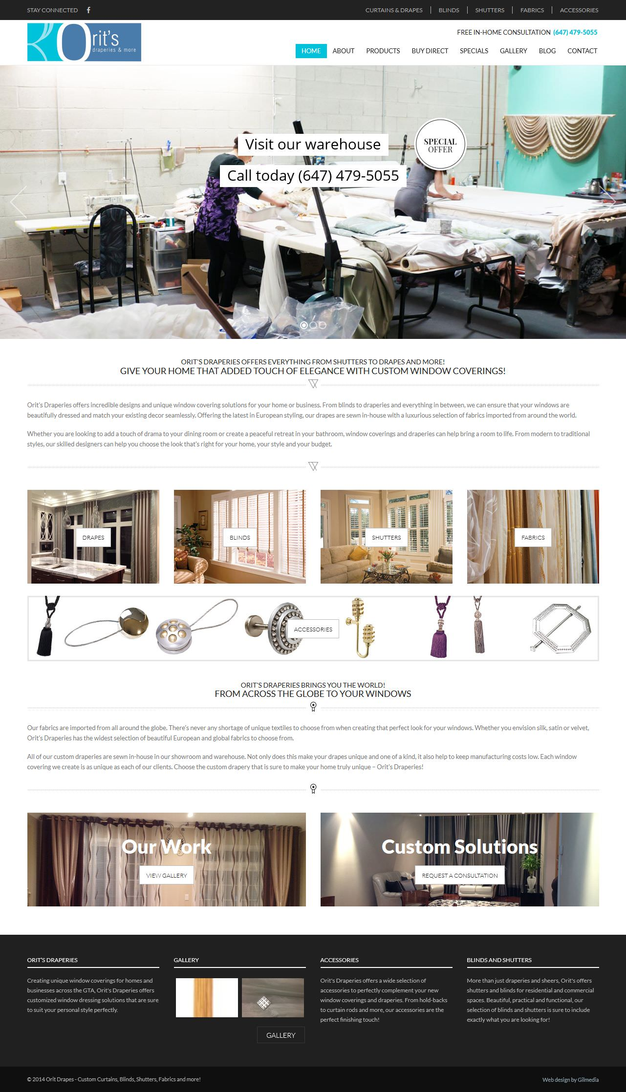 website design custom drapes