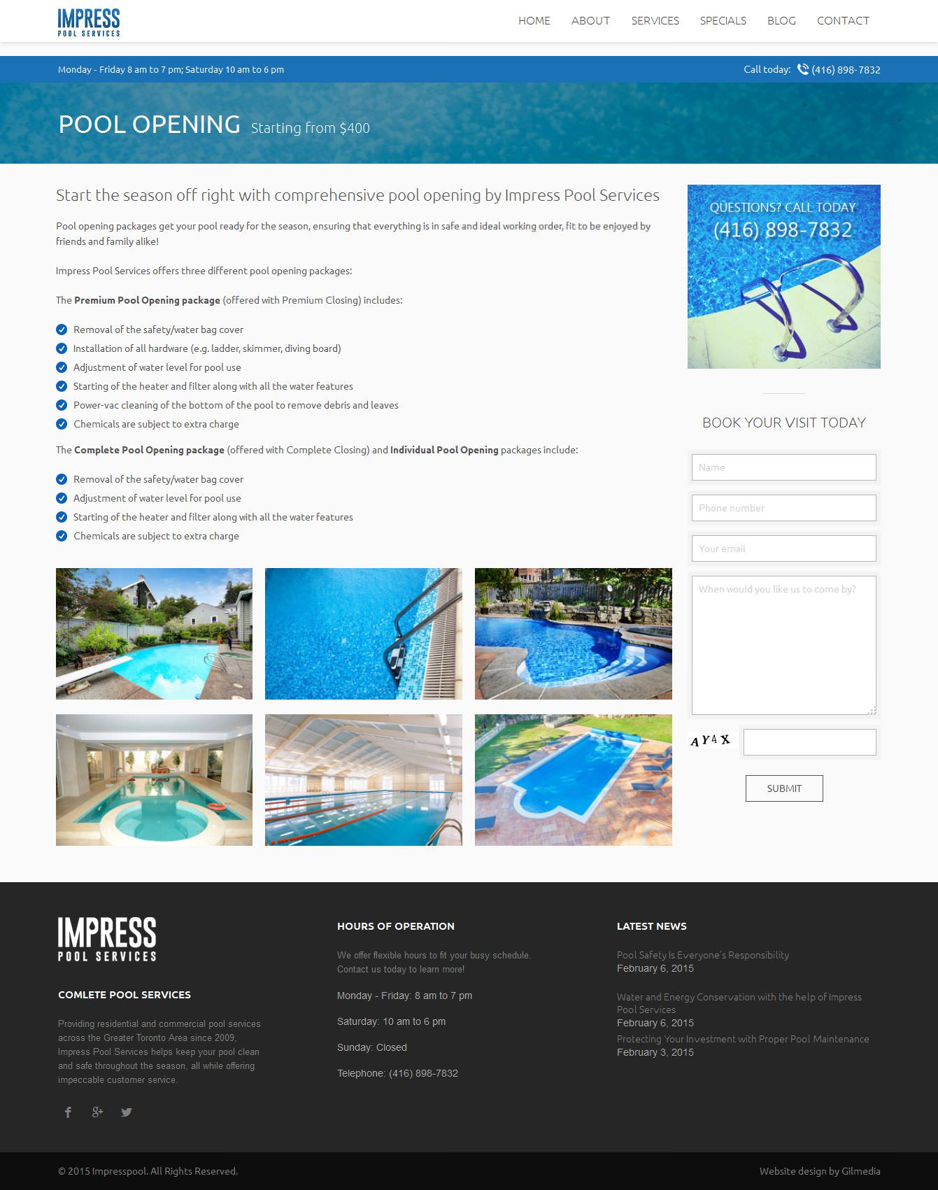 Service Detail website design