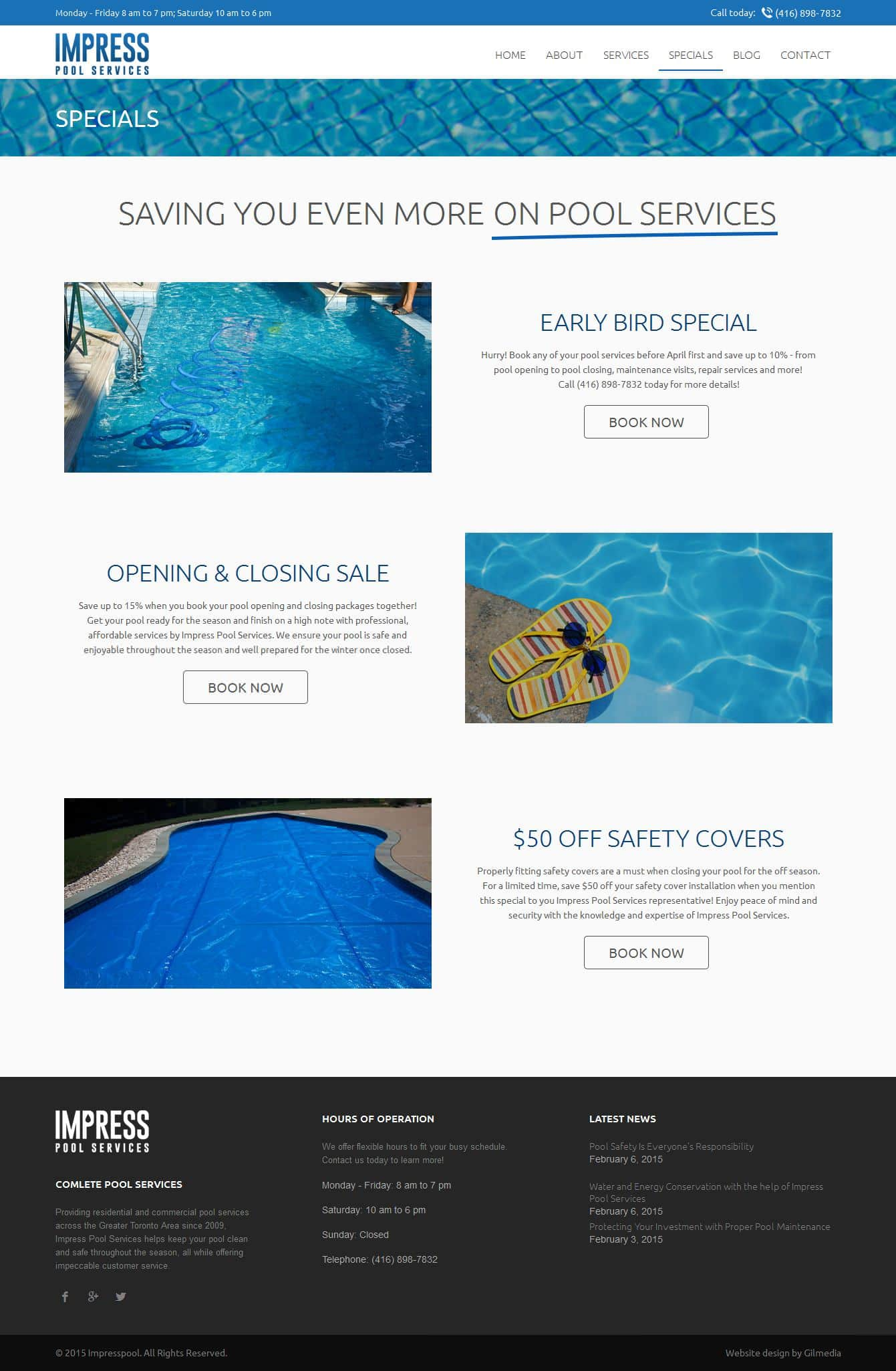 Specials website design